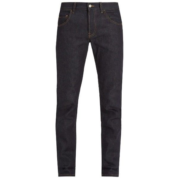 Gucci Mid-rise straight-leg denim jeans ($640) ❤ liked on Polyvore featuring men's fashion, men's clothing, men's jeans, blue, mens straight leg jeans, gucci mens jeans, mens mid rise jeans, mens striped jeans and mens blue jeans