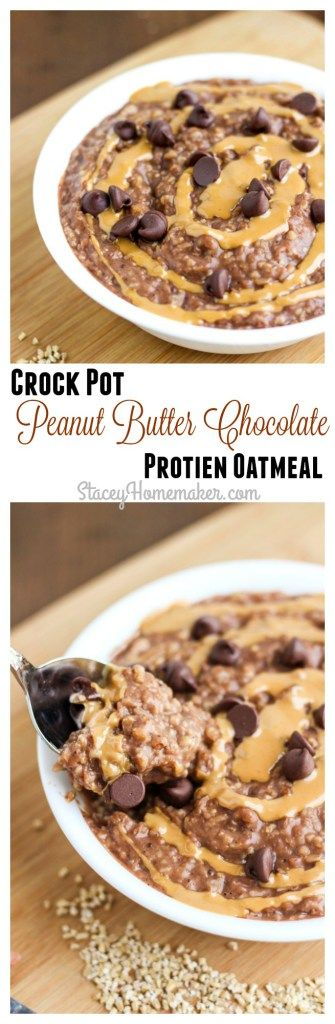 Overnight crock pot oatmeal that's upgraded and fully loaded with decadent chocolate flavor, and a creamy peanut butter swirl! Only takes 5 minutes to assemble in the crock pot, and breakfast is ready when you wake up!