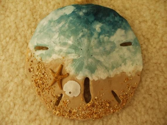 Ocean Wave Blue, Beach Ornament, Beach Christmas, Seaside, Hand Painted Sand Dollar, Gift Exchange, Package Decoration