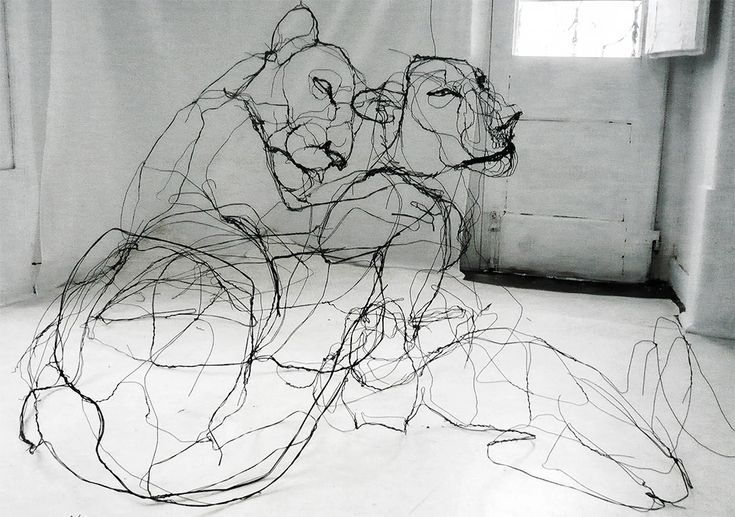 Artist David Oliveira works with wire in an unconventional way by cutting and twisting the material into sculptures that could be mistaken for 2D sketches.