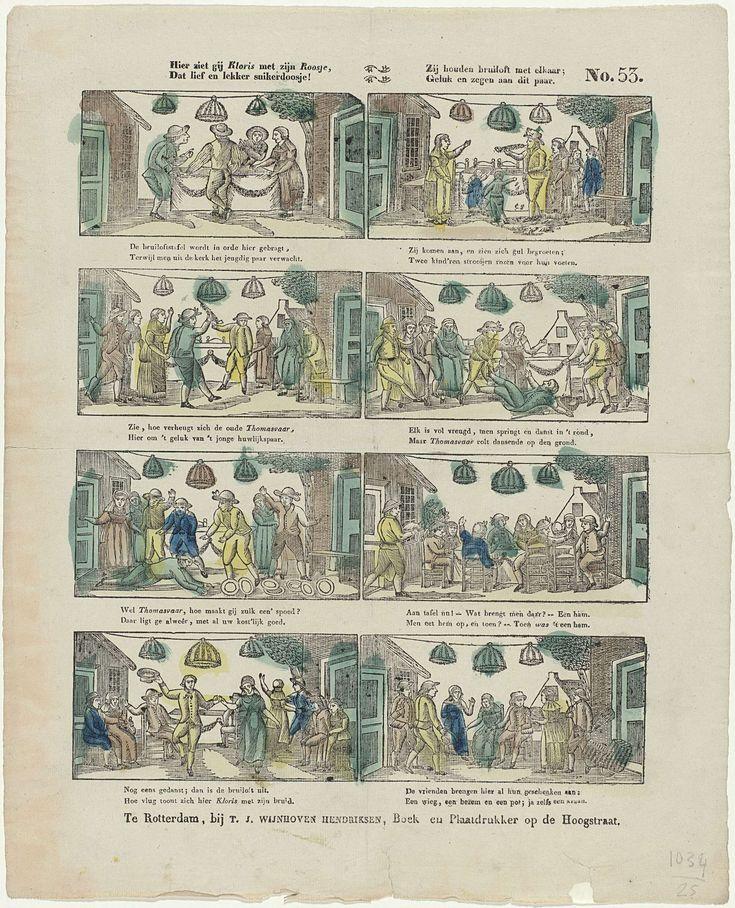 Theodorus Johannes Wijnhoven-Hendriksen | Hier ziet gij Klois met zijn Roosje, / Dat lief en lekker suikerdoosje! / Zij houden bruiloft met elkaar; / Geluk en zegen aan dit paar, Theodorus Johannes Wijnhoven-Hendriksen, Anonymous, 1832 - 1850 | Blad met 8 voorstellingen over de bruiloft van Kloris en Roosje. Onder elke afbeelding een tweeregelig vers. Genummerd rechtsboven: No. 53.