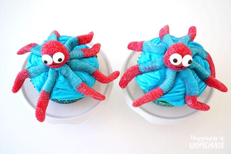 Gummi Worm Octopus Cupcakes