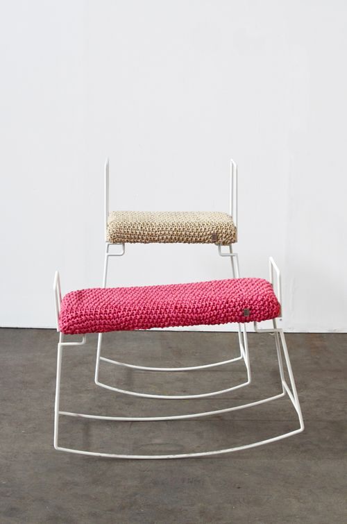 inspirekadri:    Rocking Stool by Svenja Diekmann  The rocking stool comes with an elegant and simple shape, created out of one line metal wire. The upholstery is made by a knitted recycled cotton jersey from a company which collects left over material from factories and fashion lables.  Two sizes and a wide range of colours are available.