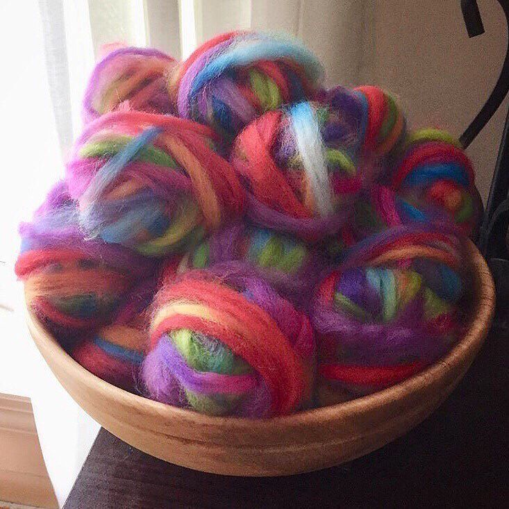 I am excited about this: Kathy is spinning this for stranded knitting!! Tell us more! @kcsunshine210 .  #strandedknitting #spinyourown #handspinnersofinstagram #handspun #handspunyarn #handspunstagram #yarnspinnersofinstagram #yarnspinners #threewatersfarmfiber