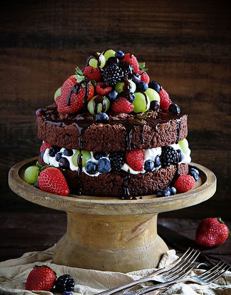 Skinny Chocolate Naked Cake with Fresh Fruit~ This cake was named as Food Networks #1 post of 2015!!