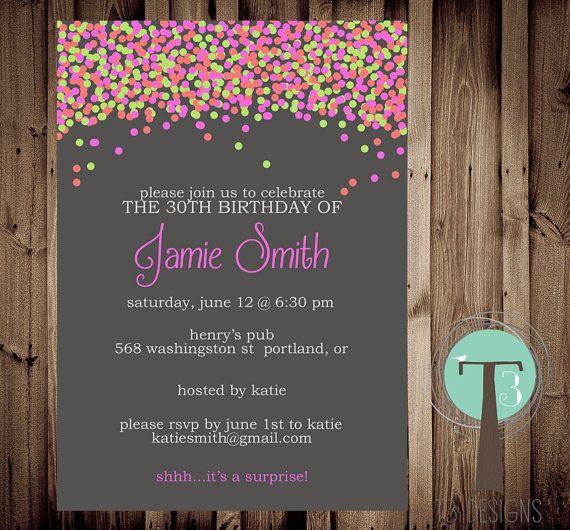 Confetti birthday invitation, bright birthday invitation, modern, adult birthday, 30th birthday, 40th, 21st birthday, party invitation on Etsy, $14.63 AUD