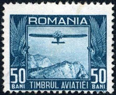 Elegant Znaczek Aircraft over mountainous landscape Rumunia Timbrul Aviatiei fur die Finanzierung