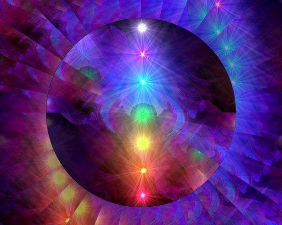 Chakra Art Rainbow Decor Reiki Energy Art 8 x 10 by primalpainter, $20.00