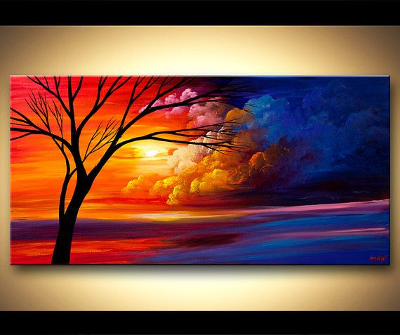 Sunset Landscape Painting - This painting is a MADE-TO-ORDER painting. Time frame: 4-5 business days to create it. The painting will be similar to the one you see here, that I have already sold. The painting will be just as colorful - created and signed by me - delivered directly from