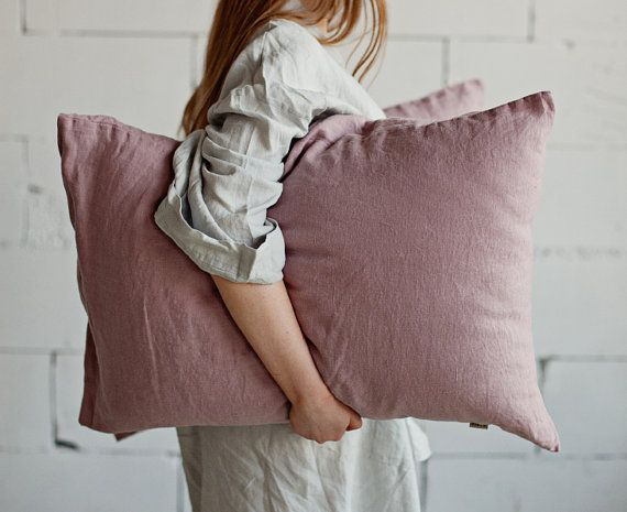Wood rose linen pillow case. Stone washed linen. Linen pillow cover. Linen pillow slip. Dusty pink pillow case. Taupe linen. Flax pillows.