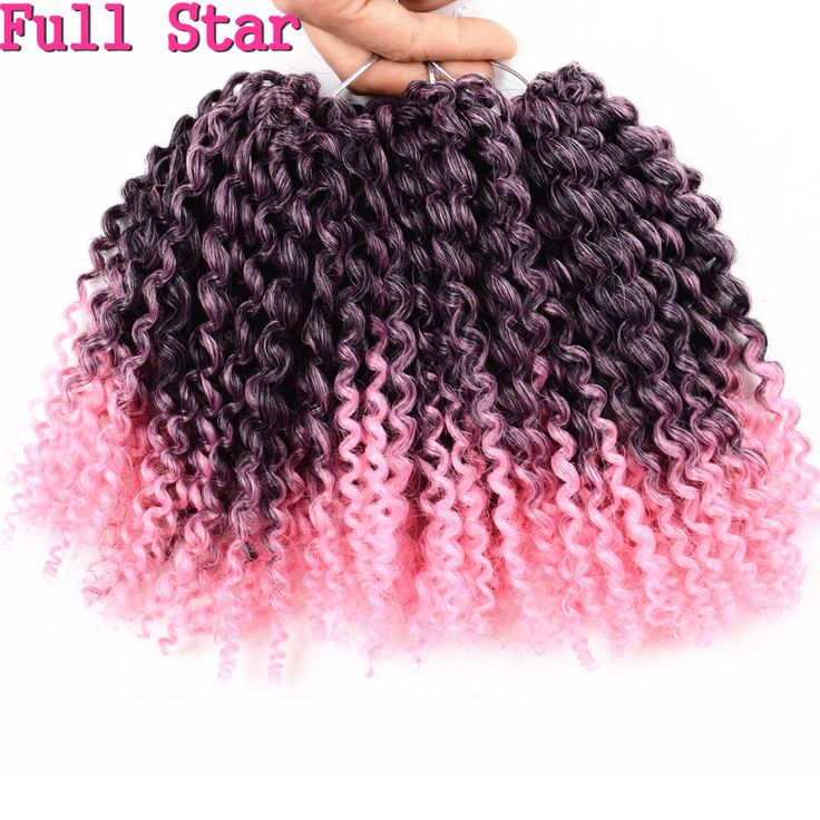 "Full Star 8"" 3Pcs/set 90g Crochet Marlybob Synthtic hair Braids Ombre Pink hair High Tmeperature Fiber Crochet Hair Extension"