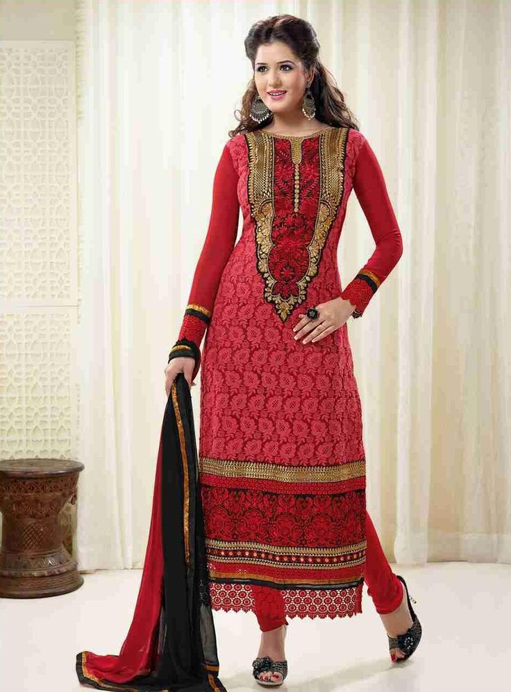 Georgette Patch Work Pink Unstitched Straight Suit - 18179