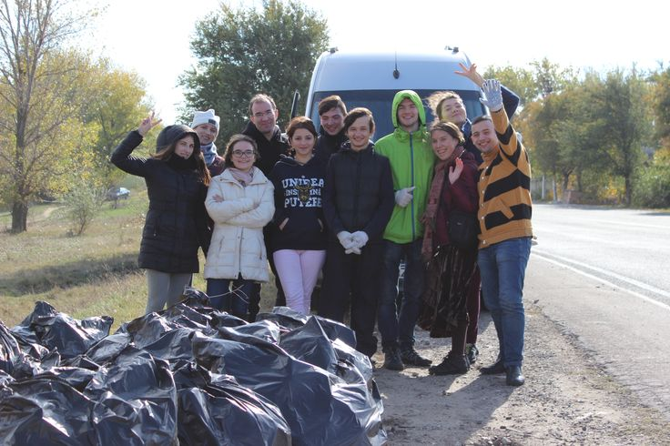 Participants of the MEGA Impact 2015 Championship after the cleanup mission in Comrat, Moldova.