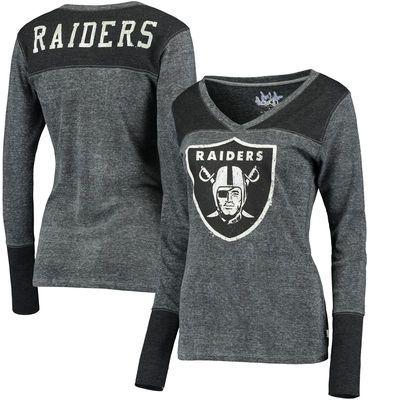 Oakland Raiders Touch by Alyssa Milano Women's Goal Line Long Sleeve V-Neck T-Shirt - Black - Fanatics.com