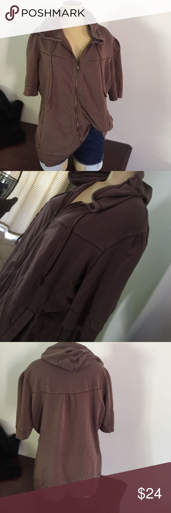 Cap Sleeve wash brown zip up hoodie Nordstroms brown washed cap sleeve hoodie. Great condition! Tops