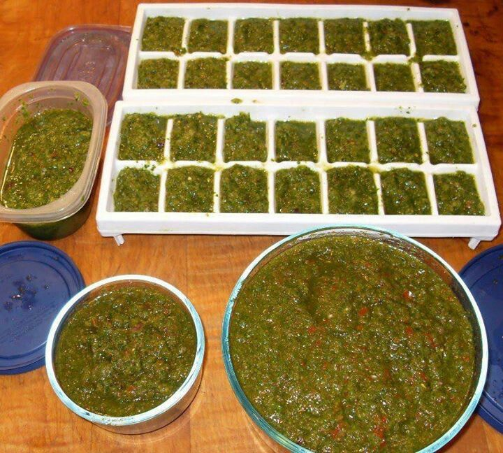 Sofrito recipe. Love the idea of freezing the sofrito in ice cube trays in order to always have that punch of flavor on hand for Mexican-Latin dishes or use along with base in soups