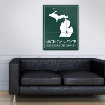 Michigan State University Map Wall Art