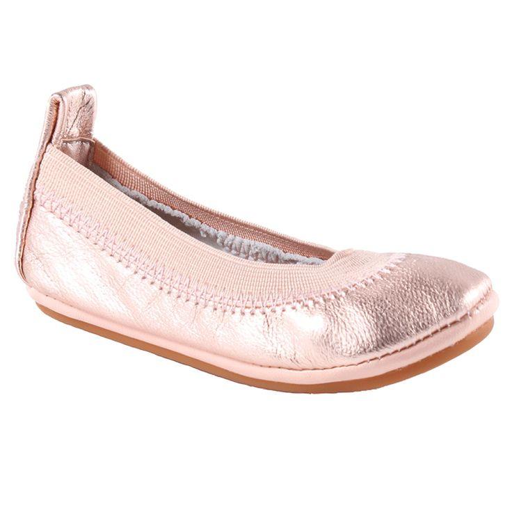 Yosi Samra Kids Rose Gold Leather Ballet Flat Shoes (Toddler, Little Girl &  Big