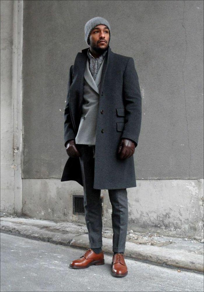 Look manteau gris homme