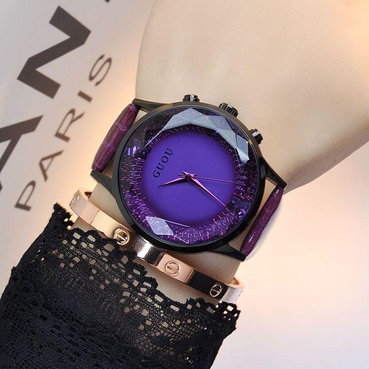 Original Guou 8107 Women Watches High Quality fashion diamond watches gaga women's Fashionable Leather Band casual Wristwatches