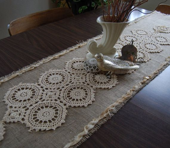 lace and burlap table runner-love the antique lace and ADORE how lace softens and makes beautiful a piece of burlap!