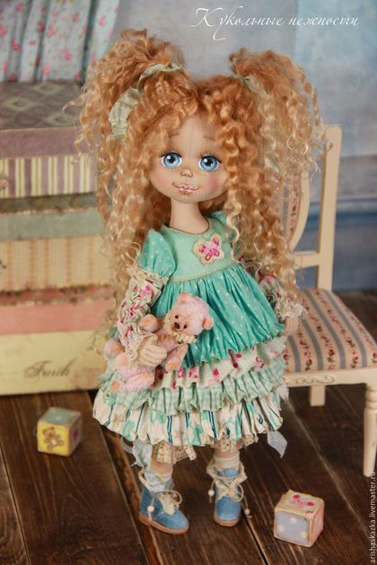 Коллекционные куклы ручной работы. Маня . Кукла авторская текстильная. Кукольные нежности от Ариши. Ярмарка Мастеров. Шебби шик