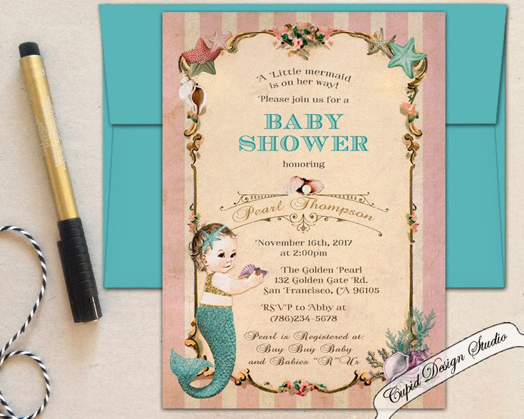 New to CupidDesigns on Etsy: Mermaid baby shower invitation/Mermaid baby shower invites/Little mermaid baby shower invitations/Coral baby shower invitation/Baby shower. (25.00 USD)