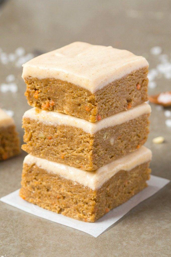 Healthy No Bake Carrot Cake Breakfast Bars- Just like dessert and secretly healthy! Paleo, vegan, gluten free! - thebigmansworld.com