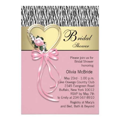Pink Zebra Black Gold Zebra Bridal Shower Announcement