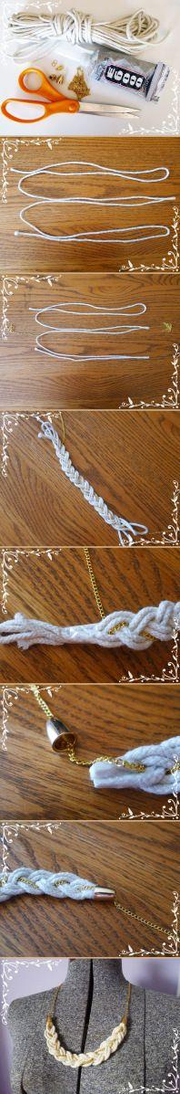 DIY rope necklace // Collar DIY trenza