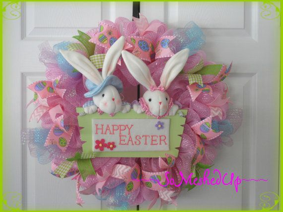 Pastel Deco Mesh Easter wreath in pastel colors with by SoMeshedUp, $53.00