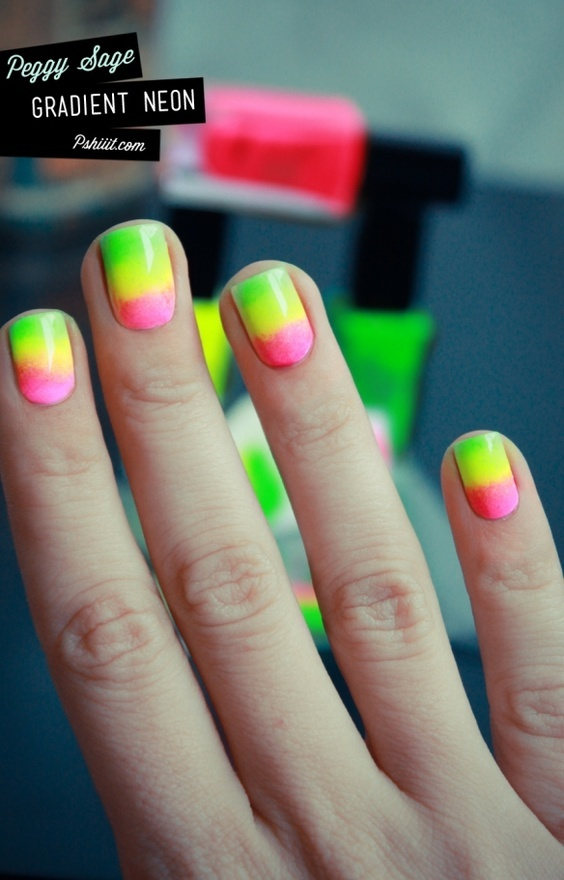 Tropical neon nails