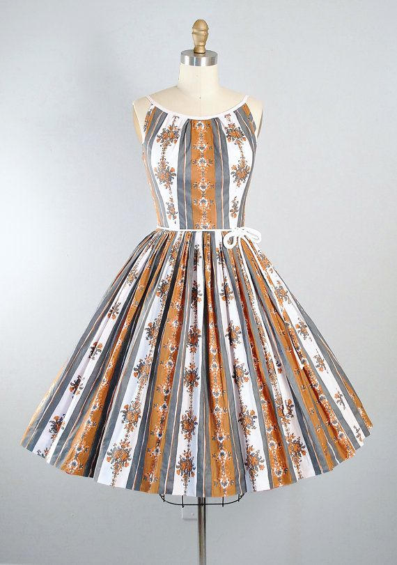 Vintage 50s Cotton Dress / 1950s Belted by GeronimoVintage on Etsy