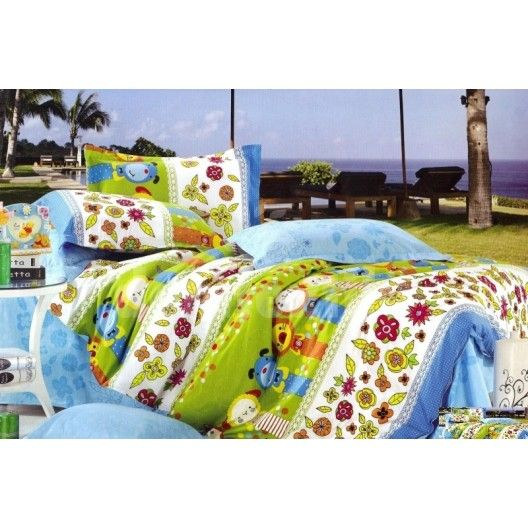 Zeleno - biele obliečky na detskú posteľ so zvieratkami