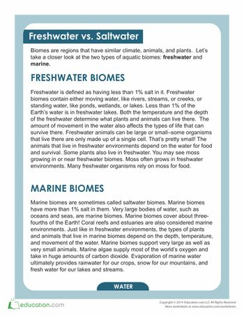 freshwater biome essay What is the name of the biome which has a geographical area that receives little rainfall and whose terrain is often dominated by rocks,  essay directions:.