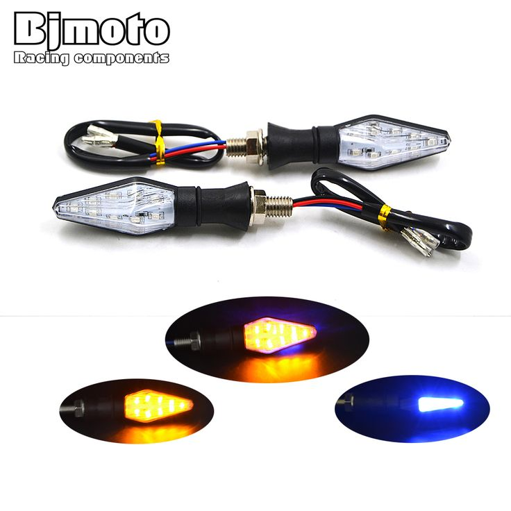 2 PCS Universal Motor LED Turn Signal Cahaya Amber Tahan Air dan Warna Biru 12 Led SMD Indikator Blinker Flash Sepeda lampu
