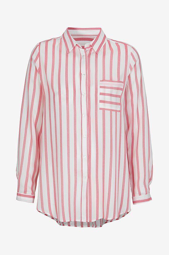 Skjorta Abri i skön, vävd kvalitet med fint fall. Rak modell med ledig passform. Liten krage och en påsydd bröstficka samt rundskuren nederkant som är lite längre bak. Längd ca 77 cm i stl 38.