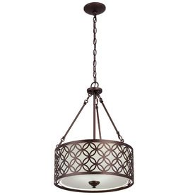Portfolio�18-in W Dark Oil Rubbed Bronze Pendant Light with Fabric Shade for Breakfast Room from Lowes