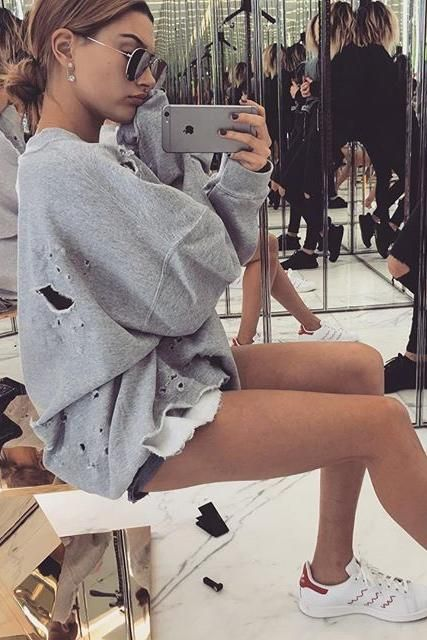 Hailey Baldwin Instagram Pic March 24 2016. Stan Smith StyleStan Smith  OutfitStan Smith ShoesCelebrity Airport StyleAdidas ...