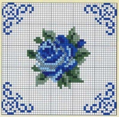 Gráfico de bordado em miniatura [] #   # #Crossstitch,   # #Needlework,   # #Charts,   # #Blue #Roses,   # #Miniatures,   # #A #Flower,   # #Stitch #Patterns,   # #Stitches,   # #Crosses