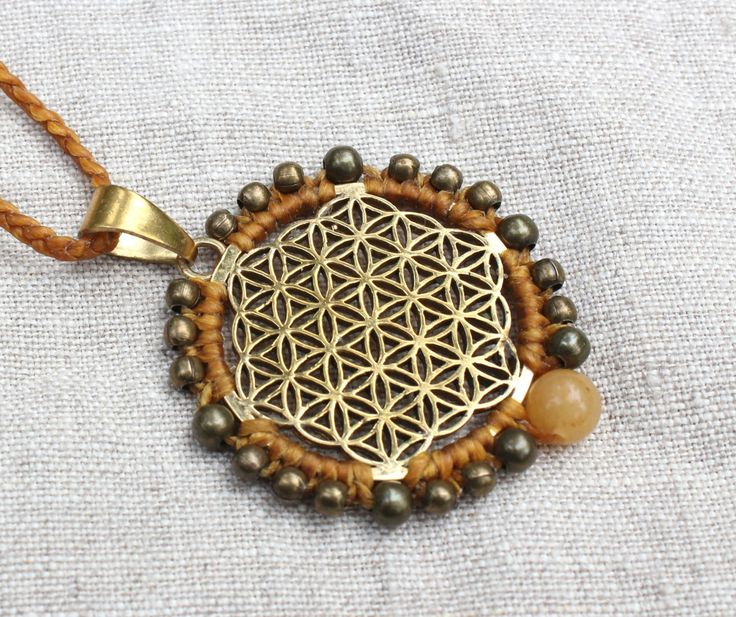 Flower of Life necklace with Yellow Jade, Howlite, Sacred Geometry pendant, mandala meditation jewelry, macrame, brass beads, boho jewellery by WildWomansHeart on Etsy