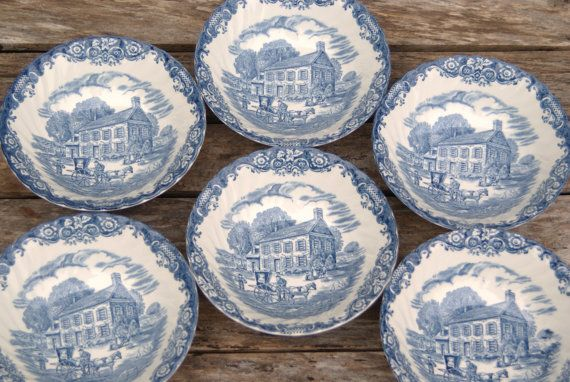 Blue and White China Bowls, Set of 6 Johnson Brothers Heritage Hall 4411. Soup Bowl Pennsylvania Fieldstone. Staffordshire Ironstone. 1980's