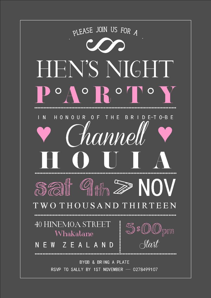 Hens Night invitation | A collection of typography ...