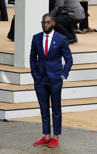 Tinie Tempah at Burberry Prorsum's Spring 2014 show, London Fashion Week