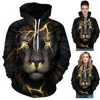 Wish | 3D Printing Lightning Lion Hoodie Couple Tee Men Women Autumn Winter Hoodies Personality Pullovers Baseball Uniform Plus Size Hooded Tops