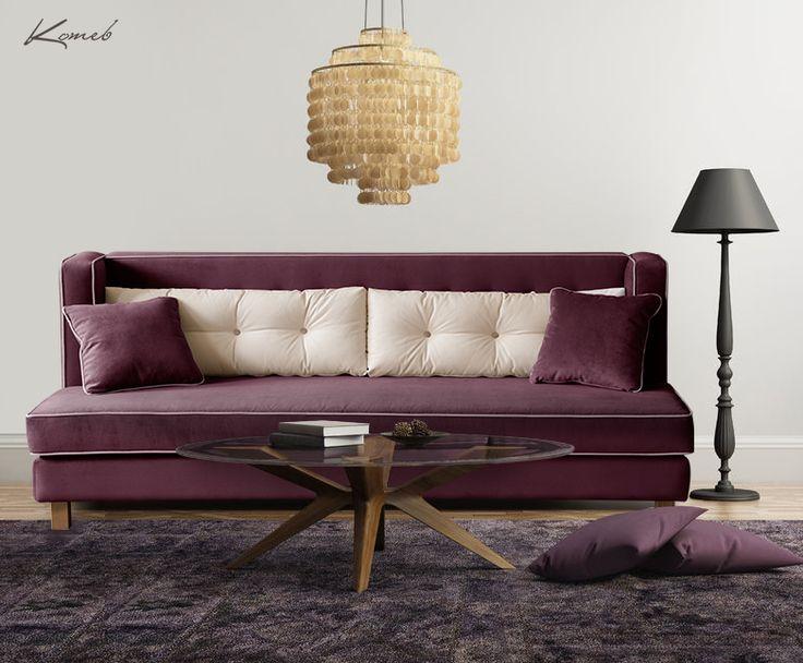 W tej propozycji dominuje śliwkowy odcień fioletu. Często unikamy ciemnych barw ponieważ wydają się ponure. Nic bardziej mylnego :) Wystarczy zadbać o jasne dodatki i dobrze oświetlić. Ważne są także miłe w dotyku tkaniny obiciowe i miękkie dywany. Sofa Venezia w takiej kolorystyce wygląda bardzo stylowo :)