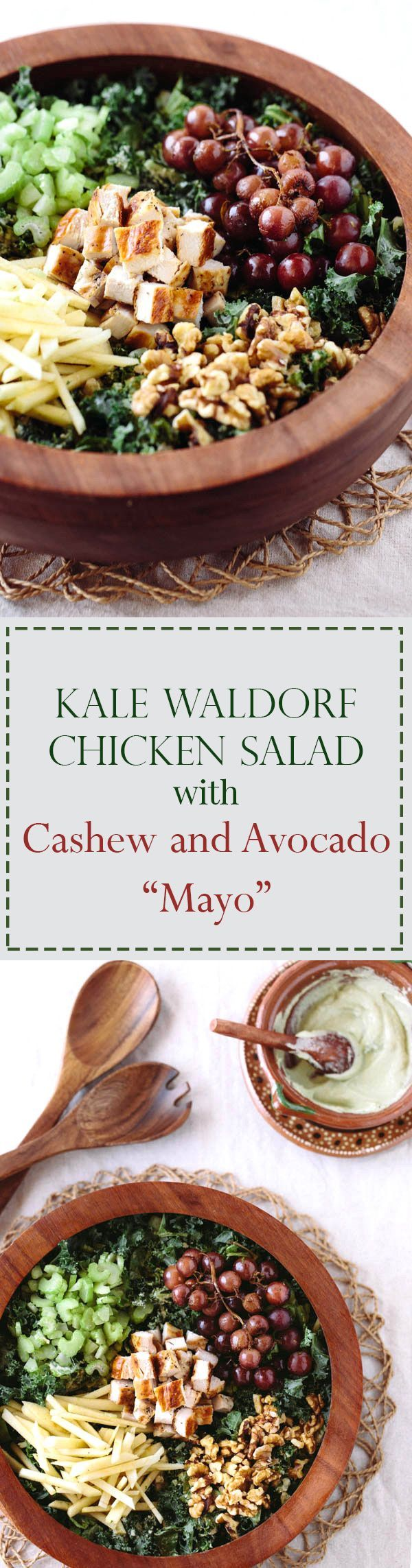 "Kale Waldorf Chicken Salad with Cashew & Avocado I Classic Waldorf Salad with a twist. Perfect for the whole family on a weeknight. You will love the cashew and avocado ""mayo"" sauce."