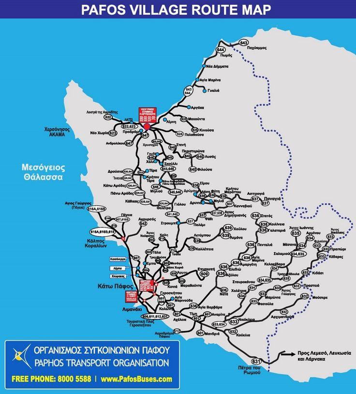 Paphos bus routes map
