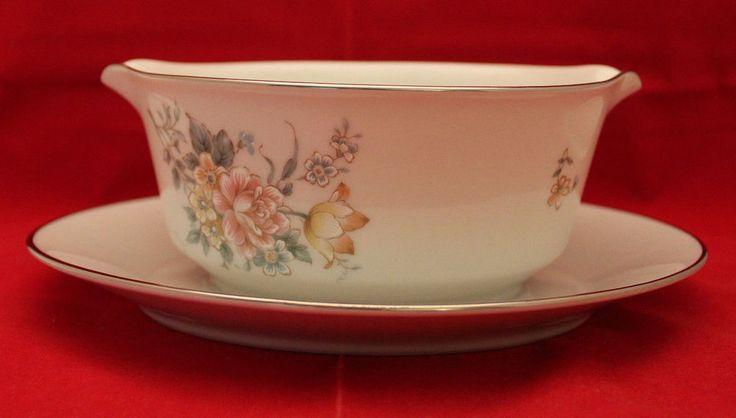 Noritake Coquet Contemporary Fine China Gravy Boat Under Plate Flower 2981 Japan #Noritake