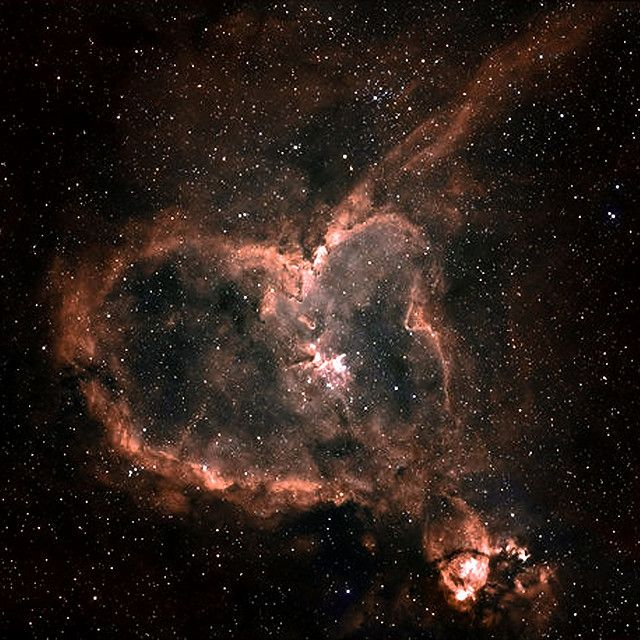The Heart Nebula, IC 1805, Sh2-190, lies some 7500 light years away from Earth and is located in the Perseus arm of the Galaxy in the constellation Cassiopeia.